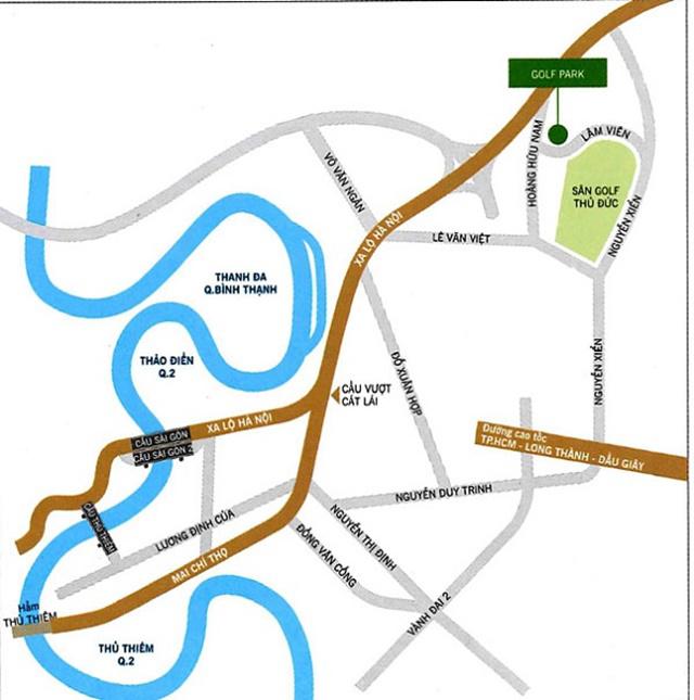 vị trí dự án căn hộ và biệt thự Golf Park Novaland Quận 9
