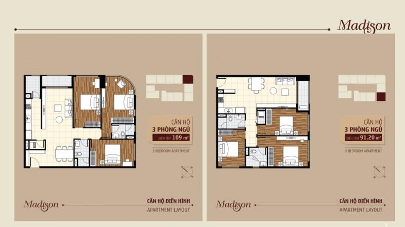 Sơ đồ 2 phòng ngủ căn hộ Madison