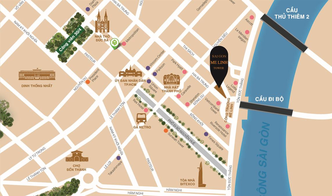 Bản đồ vị trí căn hộ Sài Gòn Mê Linh Tower