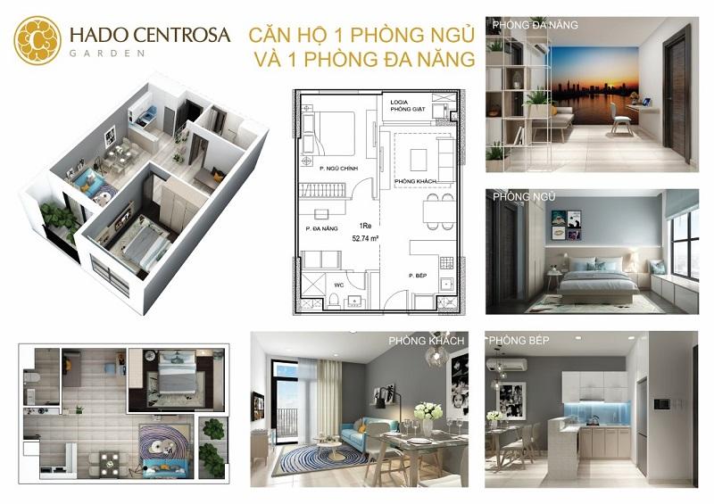 Căn hộ Hà Đô Centrosa 1 Phòng Ngủ + 1 Phòng Đa Năng