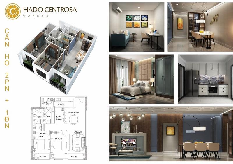 Căn hộ Hà Đô Centrosa 2 phòng ngủ,1 đa năng