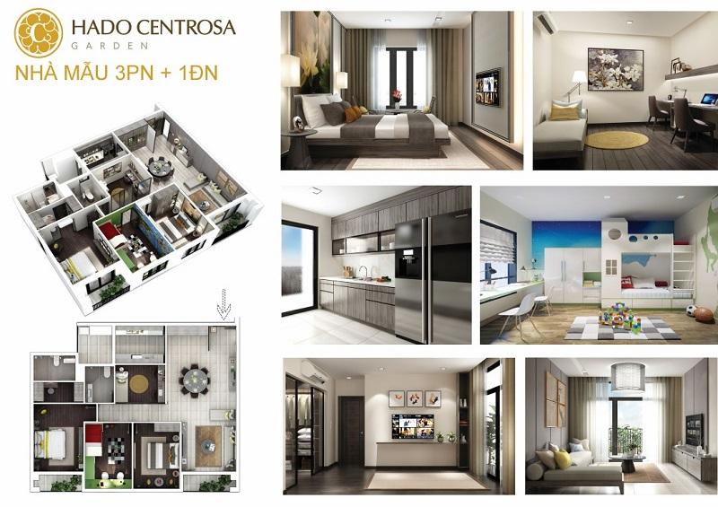 Căn hộ Hà Đô Centrosa 3 Phòng Ngủ 1 Phòng đa năng