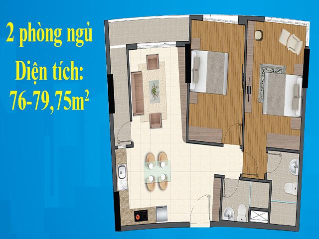Mặt bằng căn hộ 2 phong ngủ dự án Diamond City quận 7
