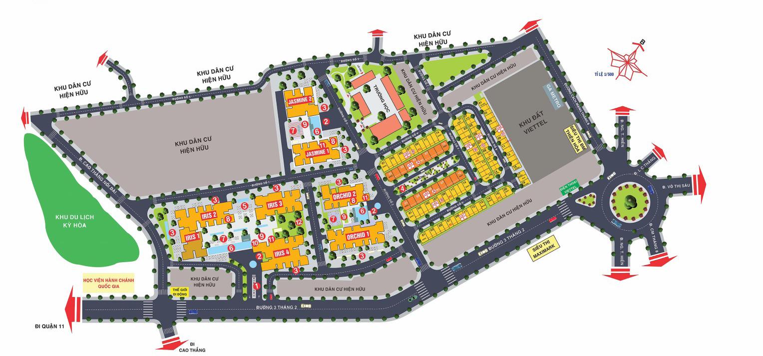 Mặt bằng tổng thể dự án Hà Đô Centrosa quận 10