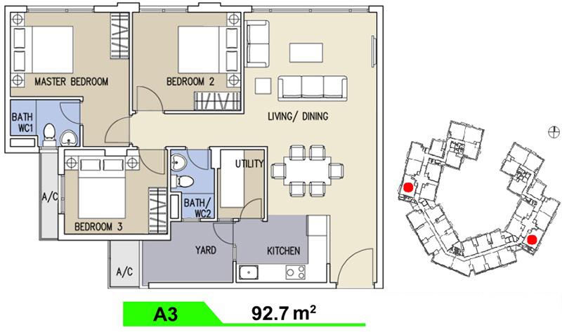 Mặt bằng căn hộ Celadon  loại A 92.7m2