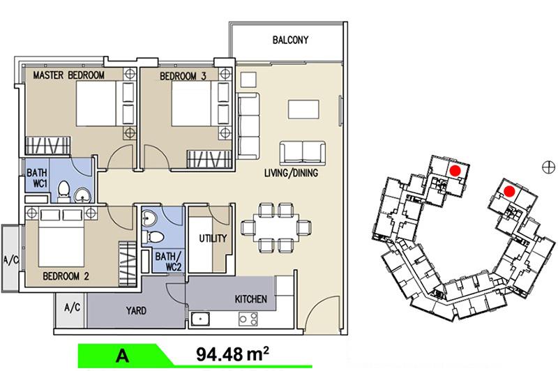 Mặt bằng căn hộ Celadon Loại A  94,48m2