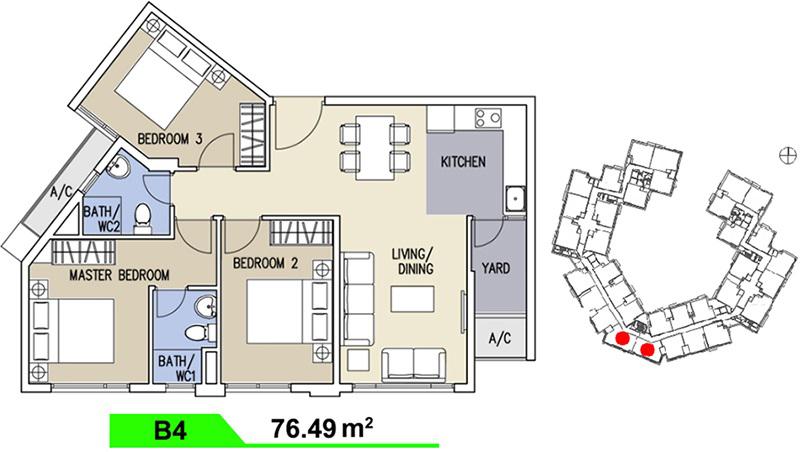 Mặt bằng căn hộ Celadon loại B 76,49m2