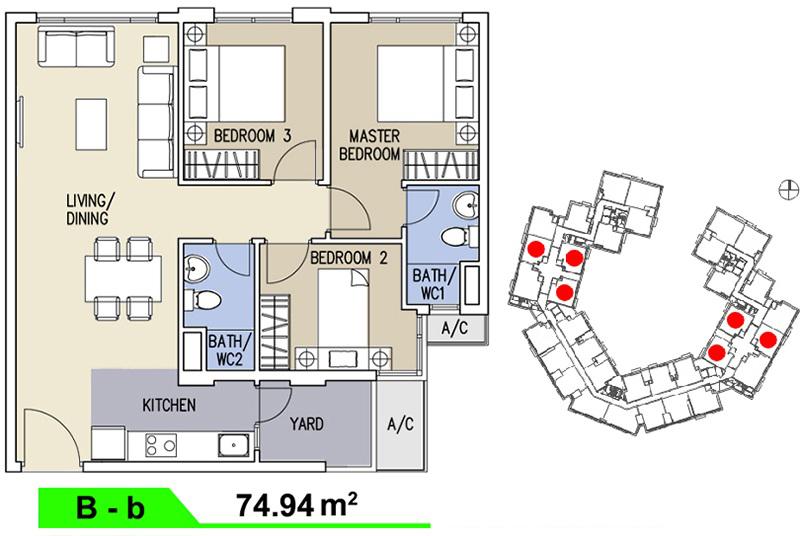 Mặt bằng căn hộ Celadon loại B 94,48m2
