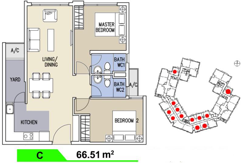 Mặt bằng căn hộ Celadon loại C 66,5m2
