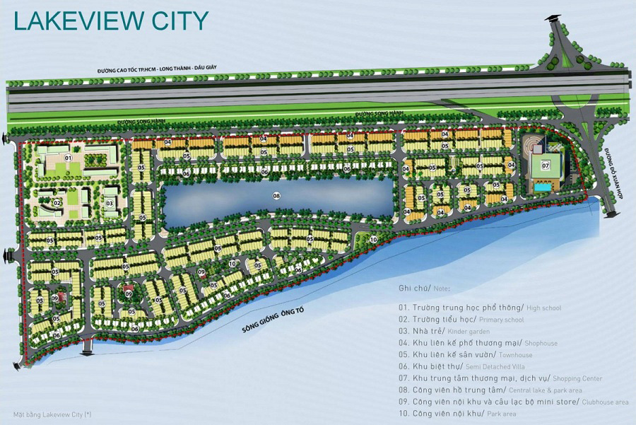 Phân khu chức năng dự án Lakeview City
