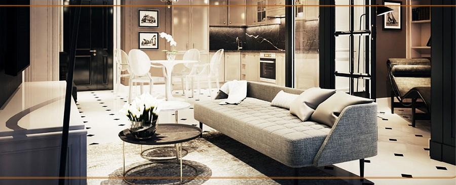 Phòng khách căn hộ Sài Gòn Mê Linh Tower