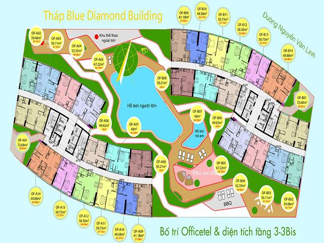 Mặt bằng tháp Blue Diamond của dự án Diamond City qu