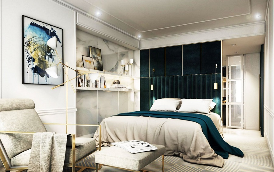 Thiết kế phòng ngủ căn hộ Sài Gòn Mê Linh Quận 1