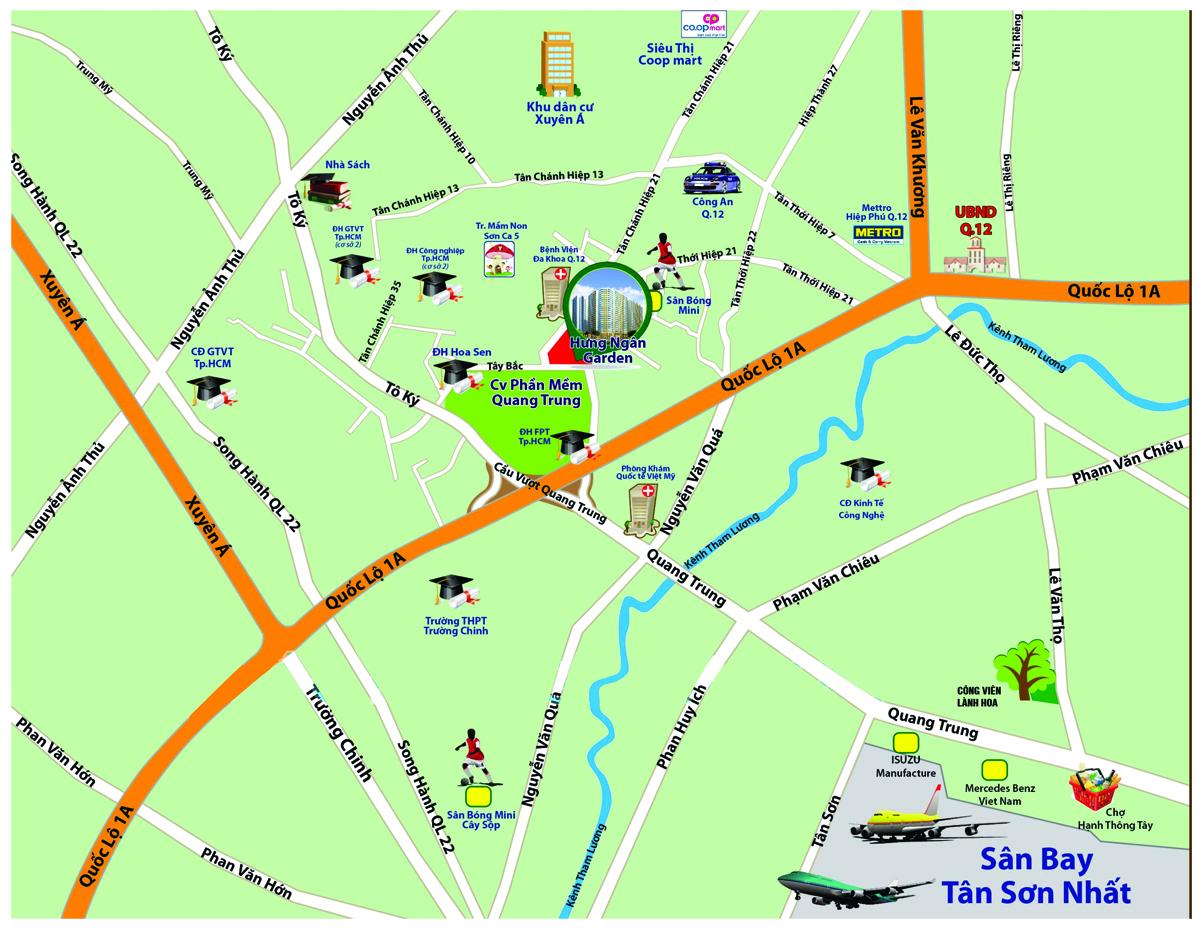 Vị Trí Hưng Ngân Garden Quận 12 - Centralland