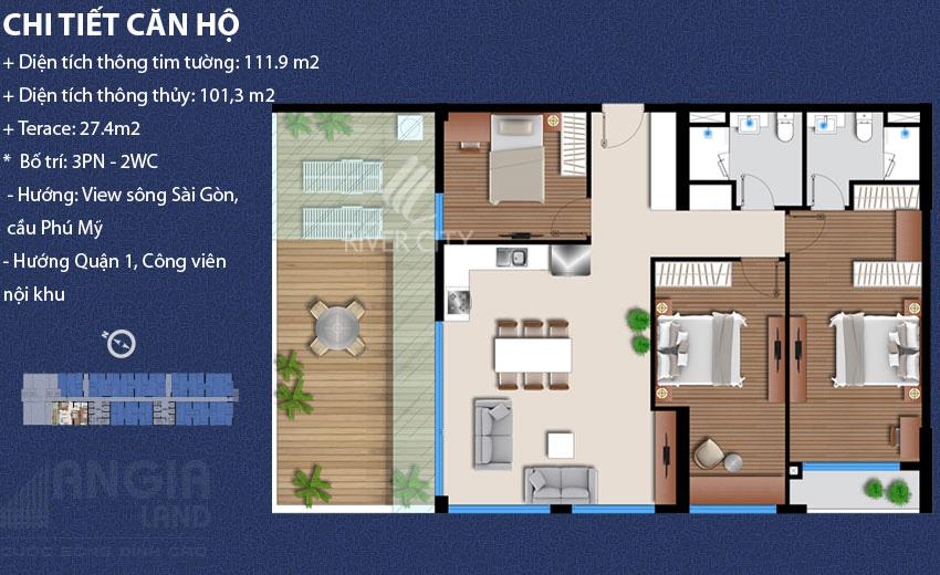 Căn hộ 111,9 m2 River City