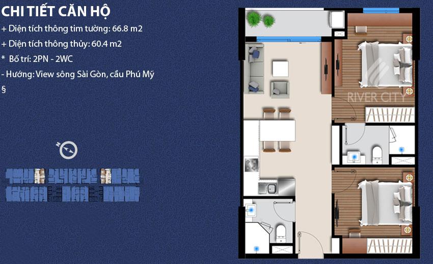 Thông tin căn hộ 66.8 m2 tại River City