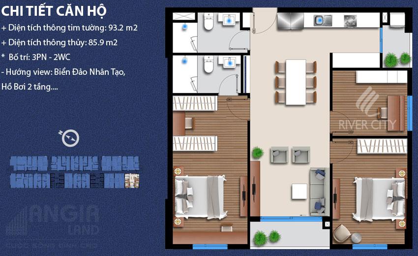 Thông tin căn hộ 93.2 m2 tại River City