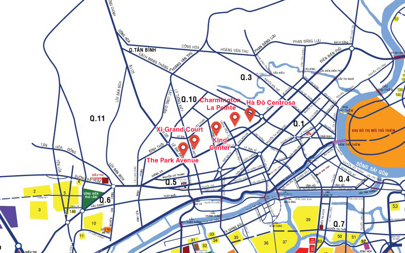 Bản đồ các dự án căn hộ đang mở bán tại khu vực Quận 10