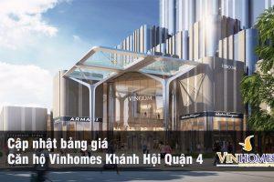Bảng giá bán căn hộ Vinhomes Khánh Hội