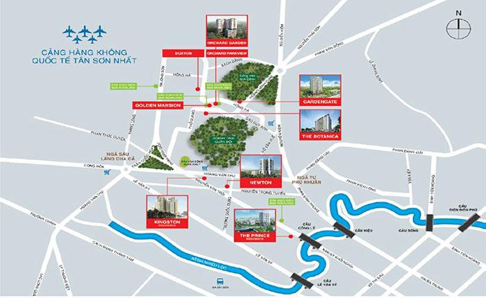 vị trí các dự án tại Quận Phú Nhuận