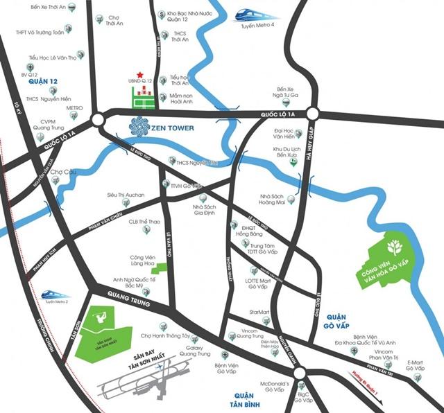 vị trí dự án căn hộ zen tower quận 12