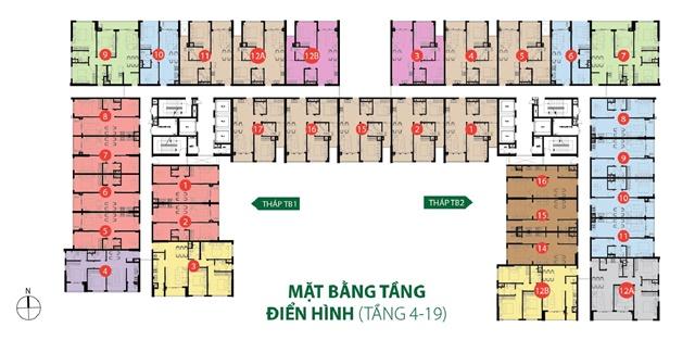 Mặt bằng căn hộ chuyển nhượng Botanica Tân Bình