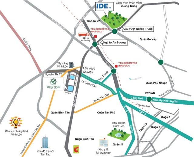 Vị trí dự án căn Green Town quận Bình Tân
