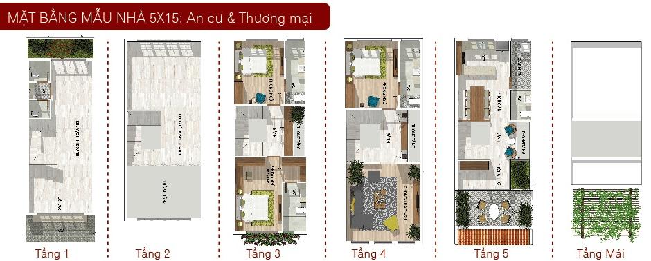 Mẫu nhà 5x15 TM Nhà Phố Tân Phú CĐT Phúc Khang