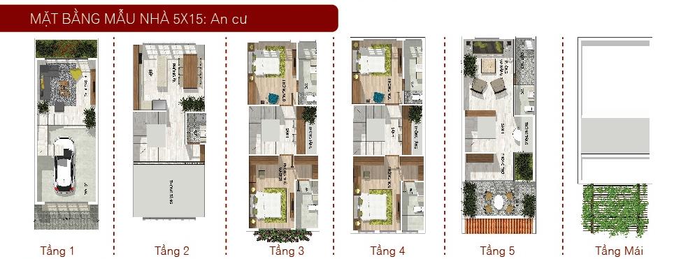 Mẫu nhà 5x15 Nhà Phố Tân Phú CĐT Phúc Khang