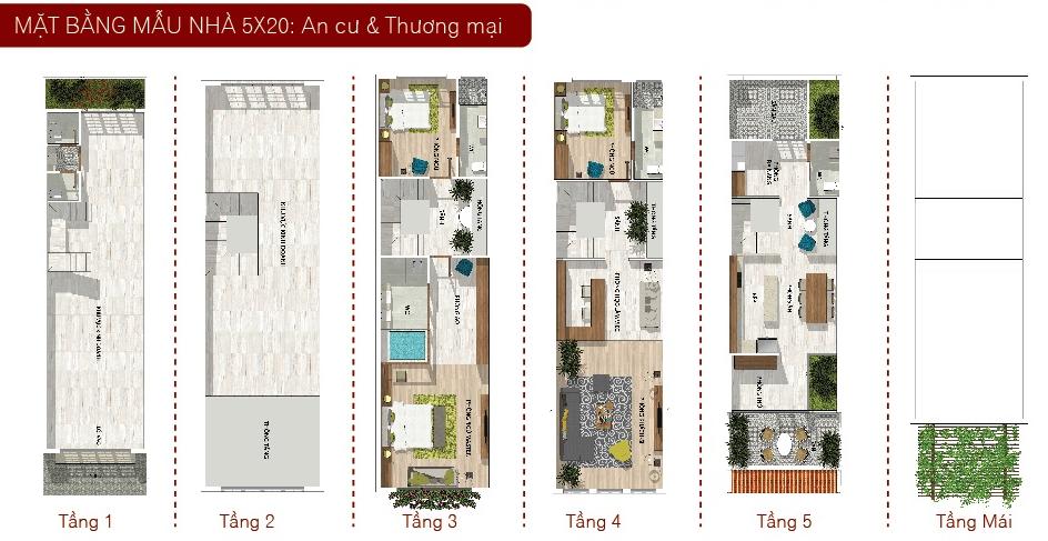 Mẫu nhà 5x20 TM Nhà Phố Tân Phú CĐT Phúc Khang