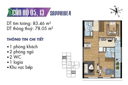 mặt bằng căn 05, 13 tòa S4 dự án Goldmark City