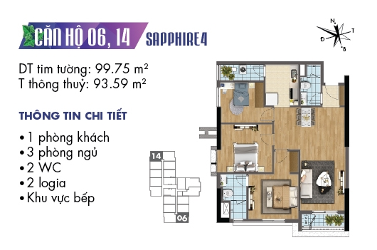 mặt bằng căn 06, 14 tòa S4 dự án Goldmark City