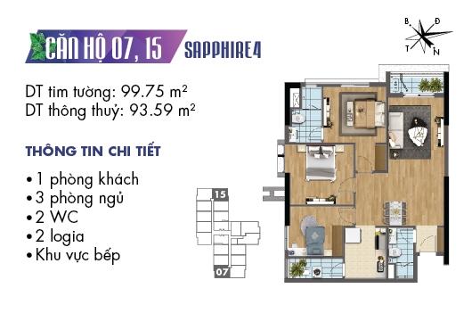 mặt bằng căn 07, 15 tòa S4 dự án Goldmark City