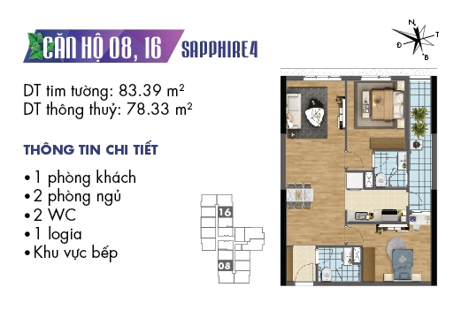 mặt bằng căn 08, 16 tòa S4 dự án Goldmark City