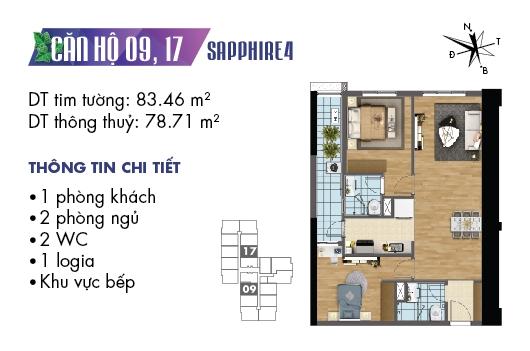 mặt bằng căn 09, 17 tòa S4 dự án Goldmark City