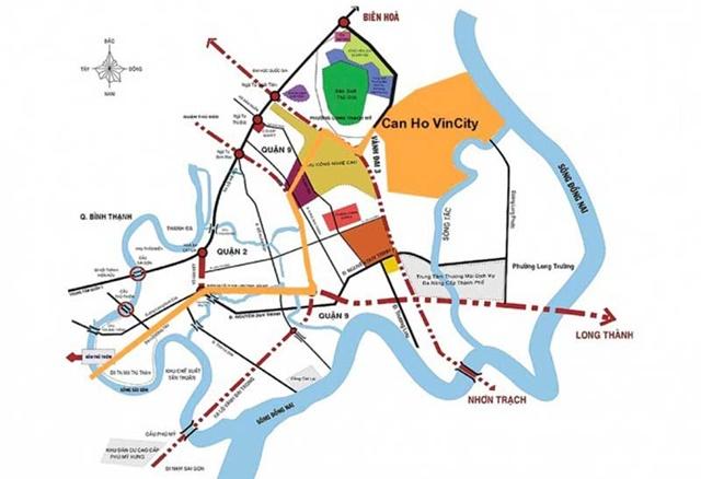 Vị trí thuận lợi kết nối Dự án Vincity Quận 9 tới các vị trí trung tâm.