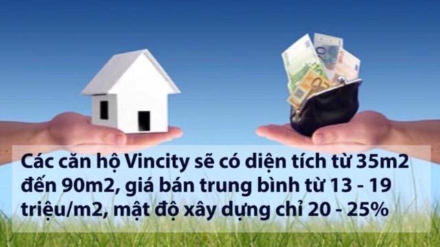 Giá trung bình của căn hộ Vincity quận 9 chỉ từ 13 - 19 triệu / m2