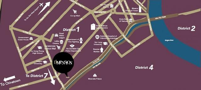 sơ đồ vị trí dự án căn hộ D1 Mension q1