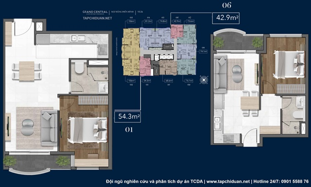 Mặt bằng loại hình căn hộ - bảng giá bán Grand Central Quận 3