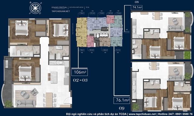 Mặt bằng loại hình căn hộ - giá bán Grand Central Quận 3