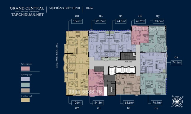 Mặt bằng Dự án căn hộ - giá bán Grand Central Quận 3
