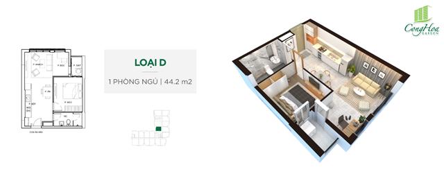 Mặt bằng thiết kế căn hộ Cộng Hòa Garden 1 phòng ngủ ( 44.2 m²)