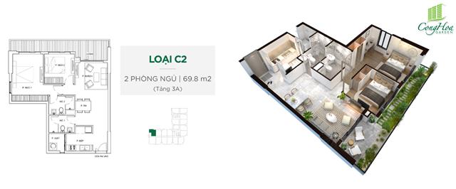 Mặt bằng thiết kế căn hộ Cộng Hòa Garden 2 phòng ngủ ( 69.8 m²)
