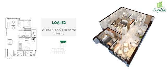 Mặt bằng thiết kế căn hộ Cộng Hòa Garden 2 phòng ngủ ( 70.42 m²)