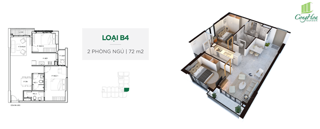 Mặt bằng thiết kế căn hộ Cộng Hòa Garden 2 phòng ngủ ( 72 m²)