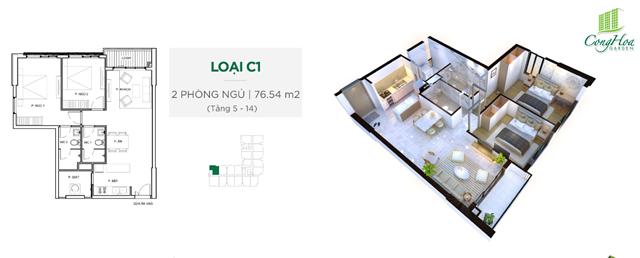 Mặt bằng thiết kế căn hộ Cộng Hòa Garden 2 phòng ngủ ( 76.54 m²)