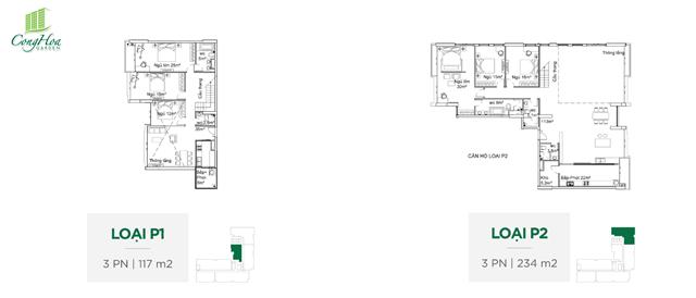 Mặt bằng căn hộ 3 Phòng ngủ ( loại P1 - P2 )