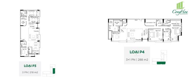 Mặt bằng căn hộ 3 Phòng ngủ ( loại P3 - P4 )