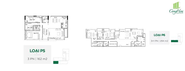 Mặt bằng căn hộ 3 Phòng ngủ ( loại P5 - P6 )